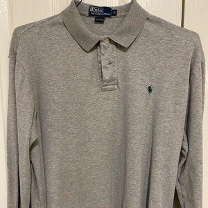 Gray long sleeve polo shirt by Polo Ralph Lauren